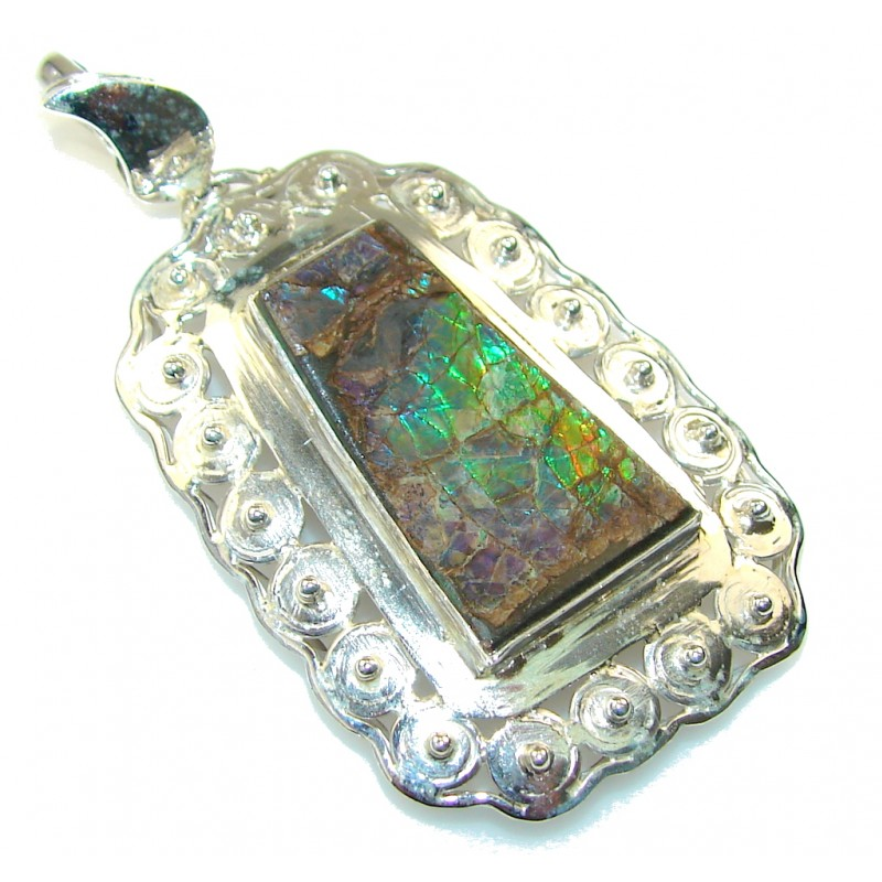 Gorgeous Green Ammolite Sterling Silver Pendant