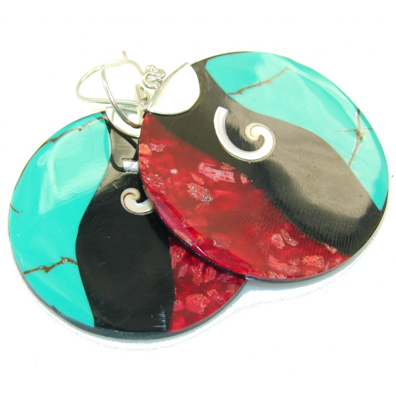 New Design Of Mozaic Shell Sterling Silver earrings
