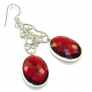 Vegas Quick Love!! Red Quartz Sterling Silver earrings