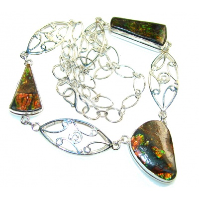 Natural Beauty!! Ammolite Sterling Silver necklace