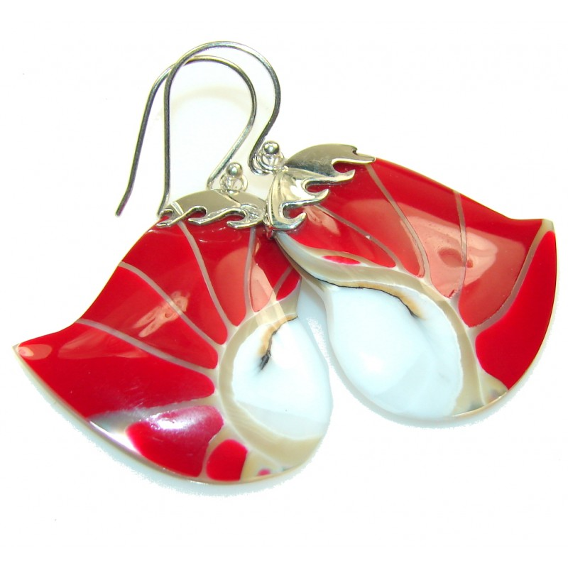 Amazing Style!! Red Ocean Shell Sterling Silver earrings