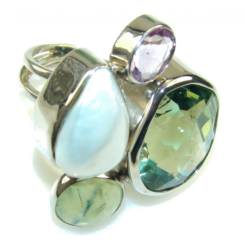 Huge! Aura Of Beauty Light Green Amethyst Sterling Silver ring s. 8- Adjustable