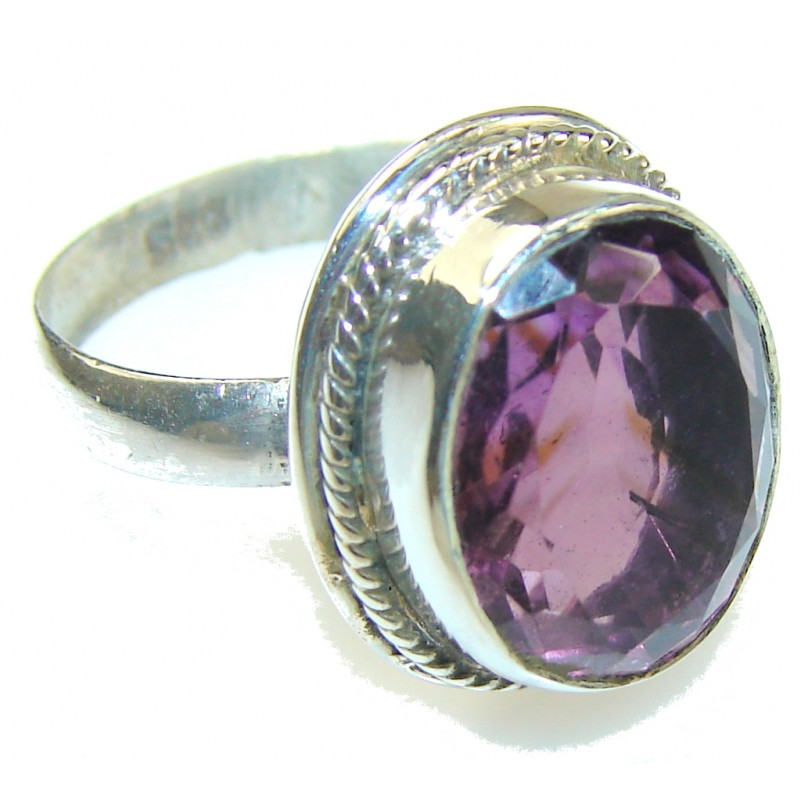 Fantastic Purple Amethyst Sterling Silver ring s. 6