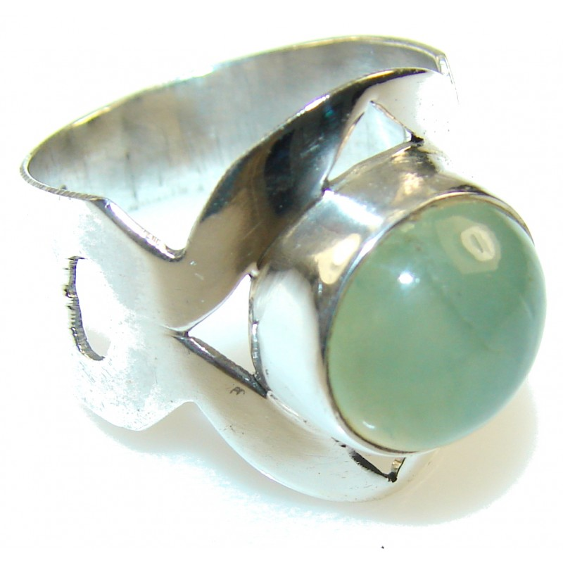 Fabulous Green Moss Prehnite Sterling Silver Ring s. 9
