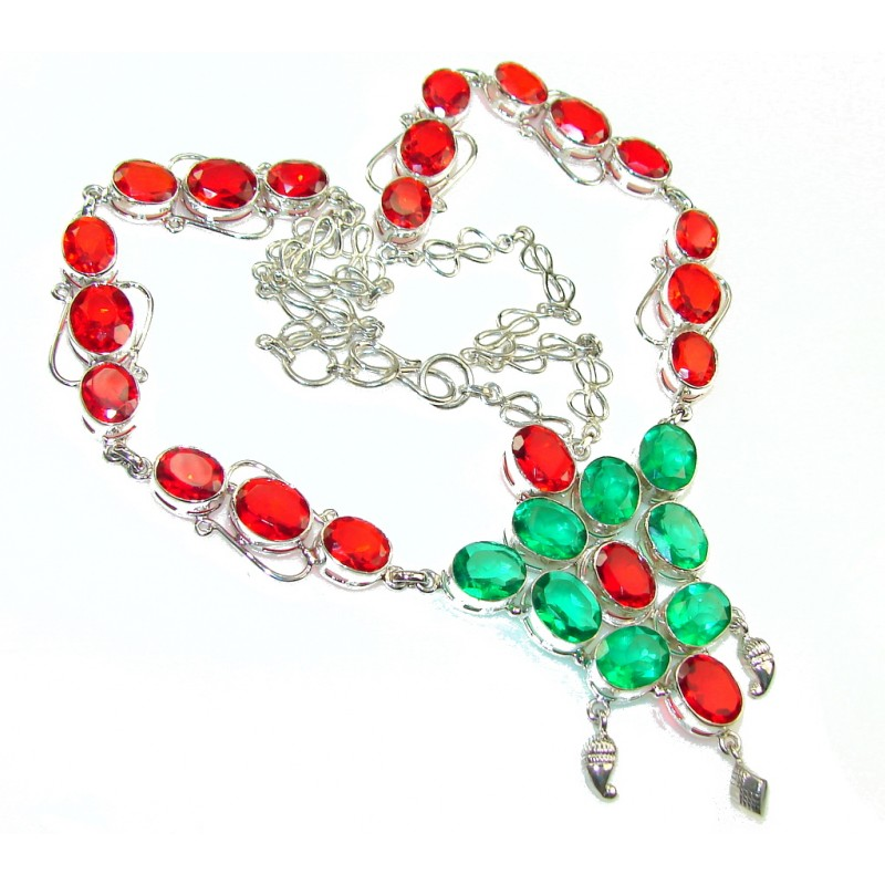 Christmas Color's!! Green & Red Quartz Sterling Silver Necklace