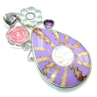 Big!! Precious Purple Ocean Shell Sterling Silver Pendant