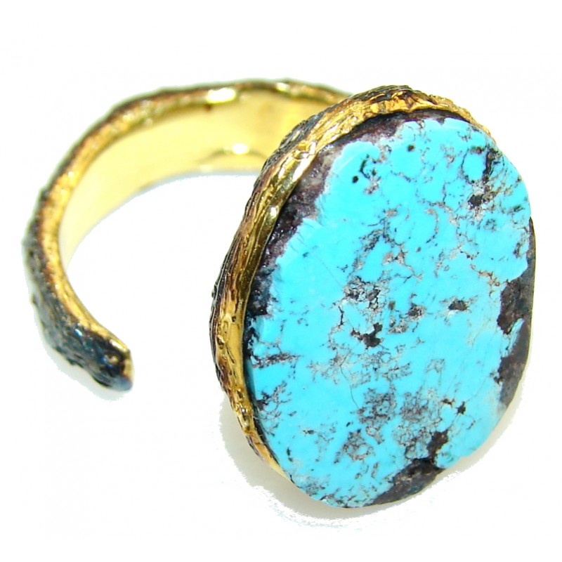 Perfect Gift!! 18ct. Gold Plated, Rhodium Plated Turquoise Sterling Silver Ring s. 8 1/2