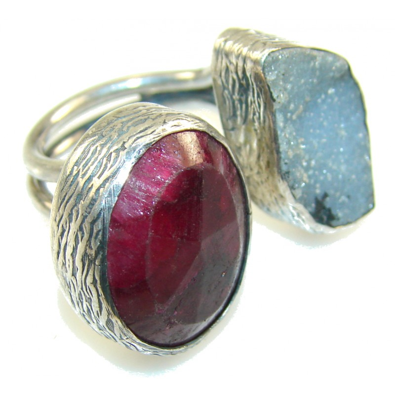 New Vintage!! Ruby & Druzy Sterling Silver Ring s. 8 -Adjustable