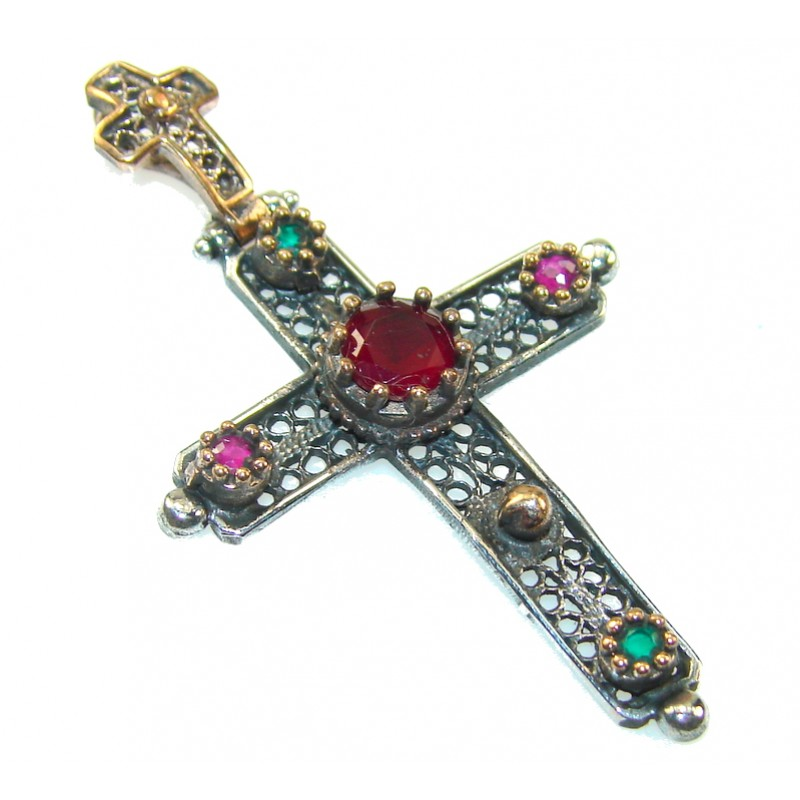 Turkish Red Ruby Sterling Silver Pendant / Cross