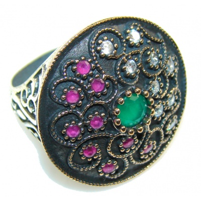 New Design!! Green Emerald Sterling Silver ring s. 7 1/2