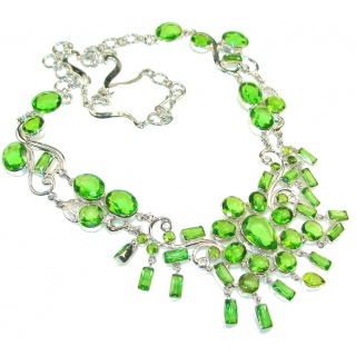 EverGreen Joy!! Green created Peridot Sterling Silver Necklace