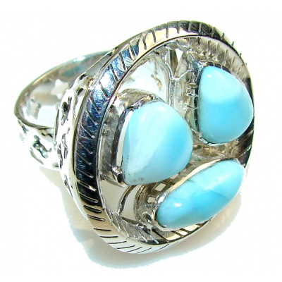 Snow Xmas!! Blue Larimar Sterling Silver Ring s. 10 1/4