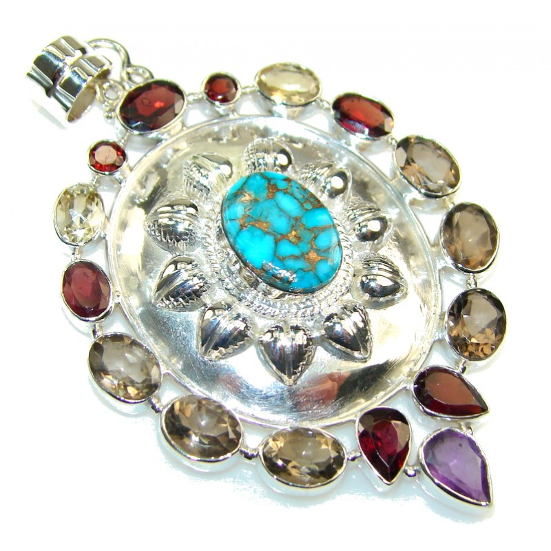 Holiday Jingle!! Copper Turquoise Sterling Silver Pendant