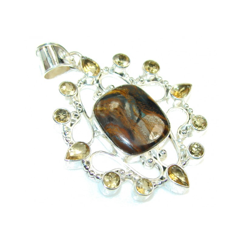 Precious Design Of Iron Tiger's Eye Sterling Silver Pendant