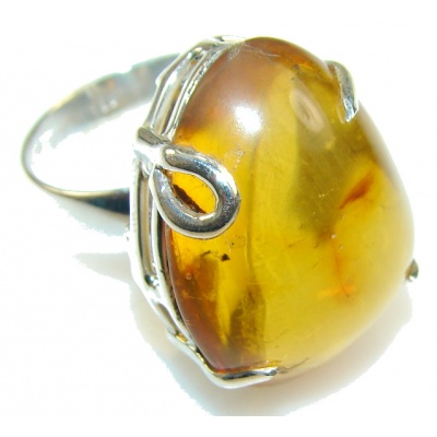 Excellent Brown Amber Sterling Silver Ring s. 9