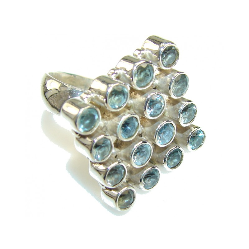 New Fabulous Blue Topaz Sterling Silver Ring s. 8