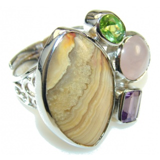 Stylish Crazy Banded Agate Sterling Silver ring s. 7- adjustable
