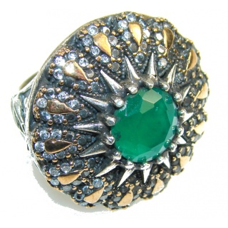 Garden Island! Green Emerald Sterling Silver ring s. 7