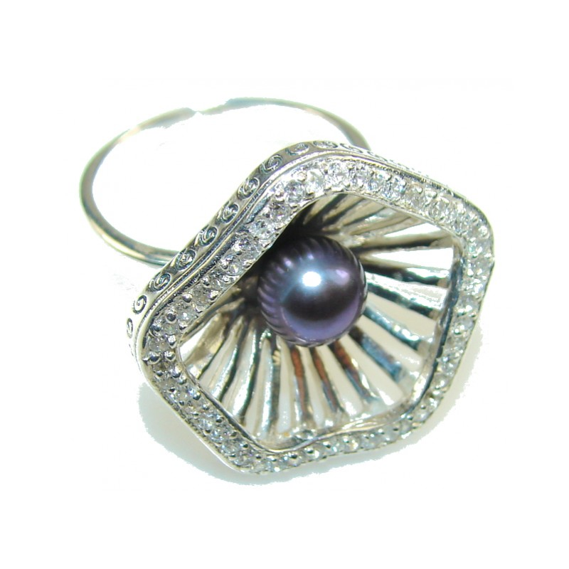 Perfect Design!! Blister Pearl Sterling Silver Ring s. 8