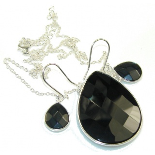 Black Whisper!! Black Onyx Sterling Silver necklace / Earrings