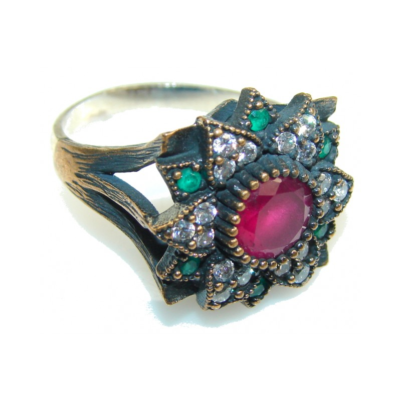Turkish!! Pink Ruby Sterling Silver ring s. 9