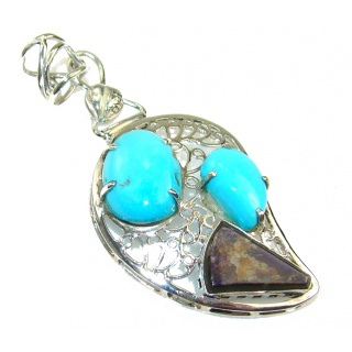 Awesome Blue Turquoise Sterling Silver Pendant