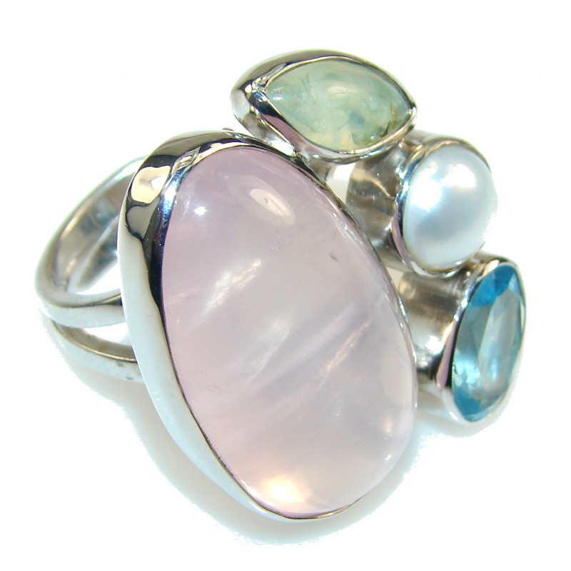 delicate pink quartz sterling silver ring s 7