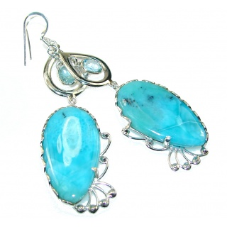 Delicate Light Blue Larimar Sterling Silver earrings