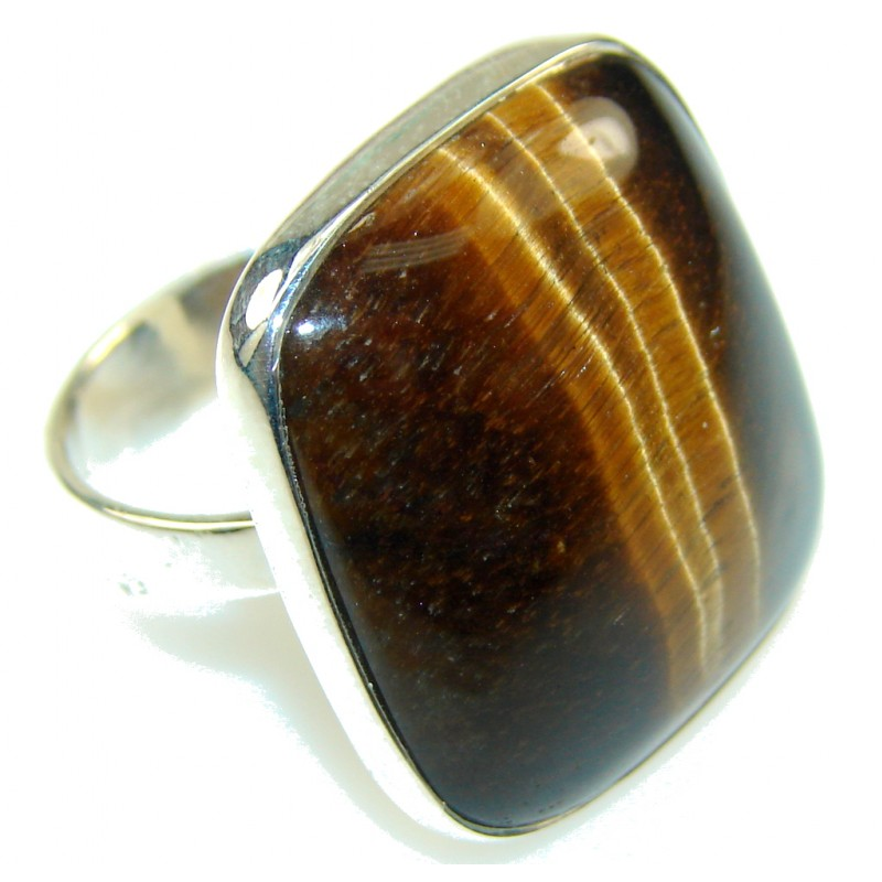 Beautiful Tigers Eye Sterling Silver Ring s. 9