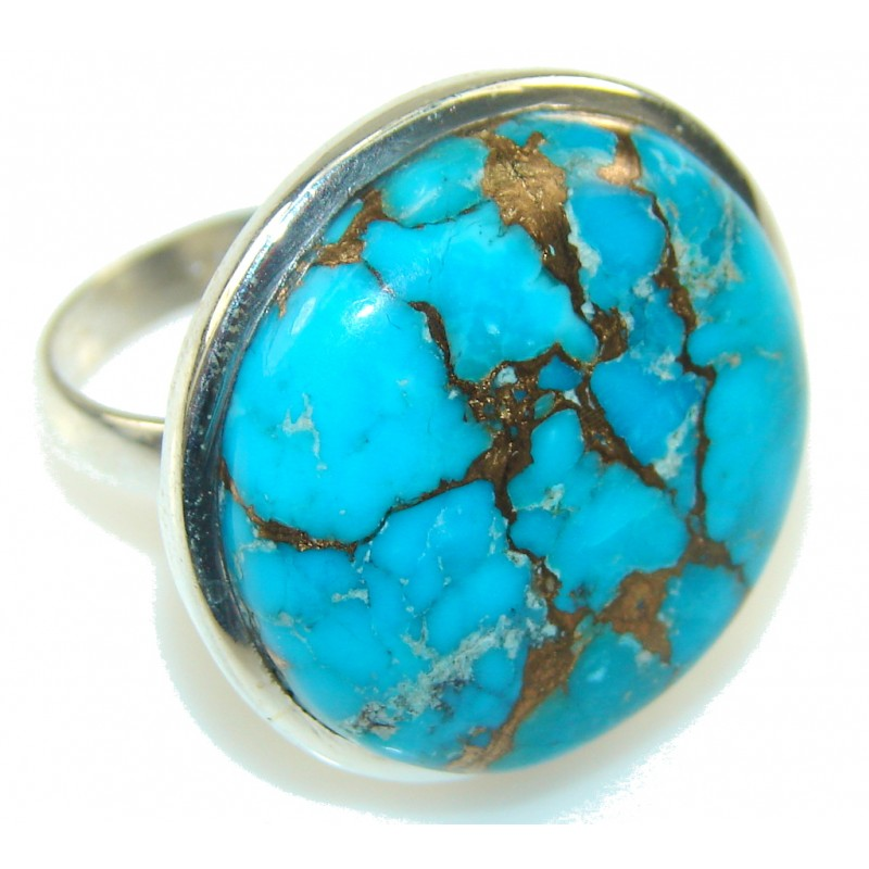 Fantastic Blue Copper Turquoise Sterling Silver Ring s. 10 1/2