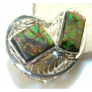 Big!! Stylish Ammolite Sterling Silver ring s. 12