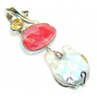 Amazing Pink Rhodochrosite Sterling Silver Pendant