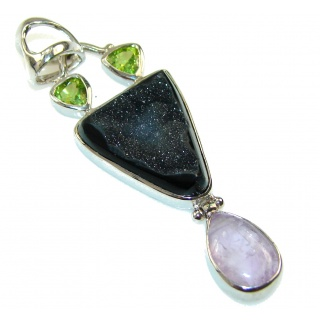 Spirit Of Peace!! Black Agate Druzy Sterling Silver Pendant