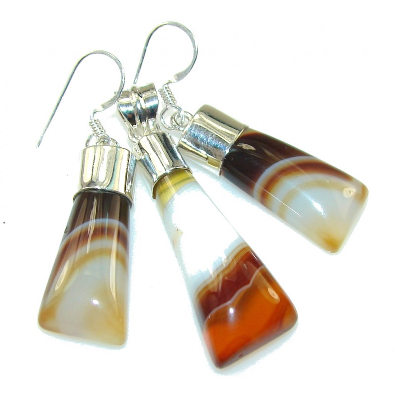 Awesome Design!! Botswana Agate Sterling Silver earrings / Set