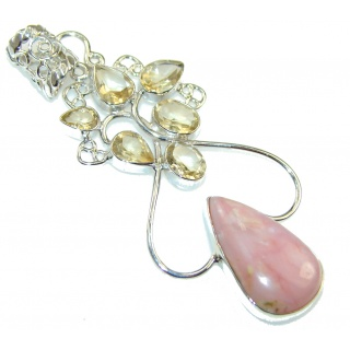 Precious Pink Opal Sterling Silver Pendant