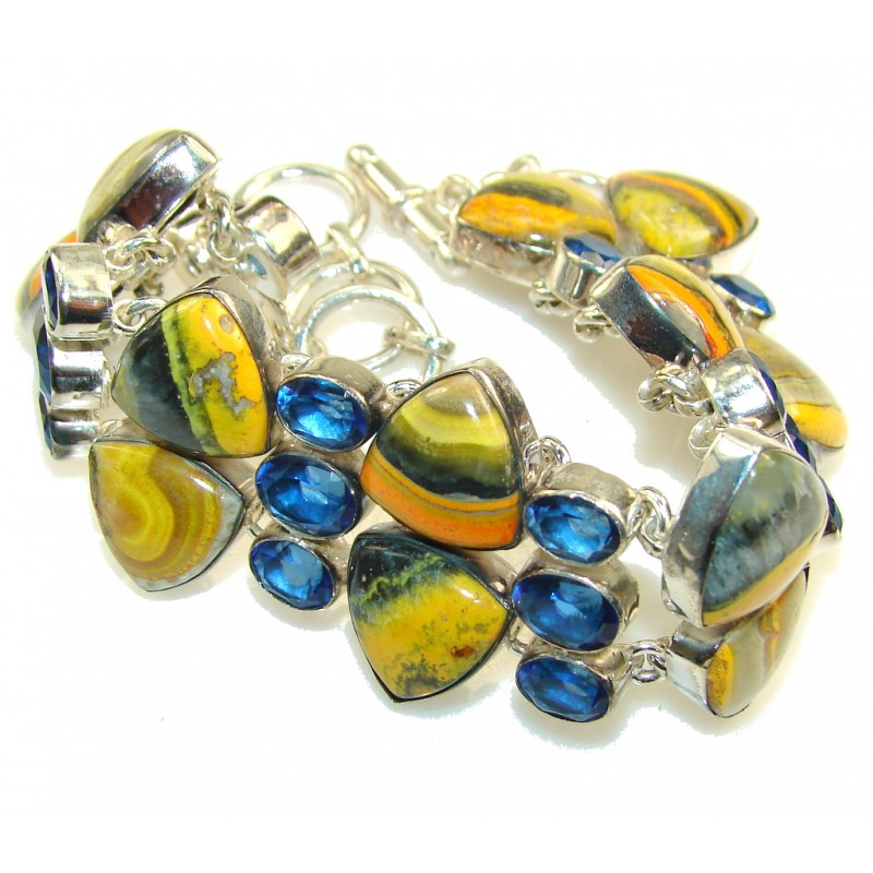 Perfection!! Yellow Bumble Bee Jasper Sterling Silver Bracelet