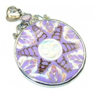 Ocean Purple Shell Sterling Silver Pendant