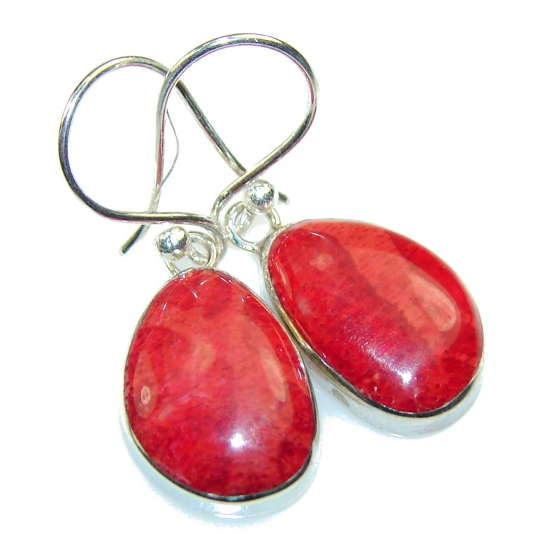 Petite Red Fossilized Coral Sterling Silver earrings