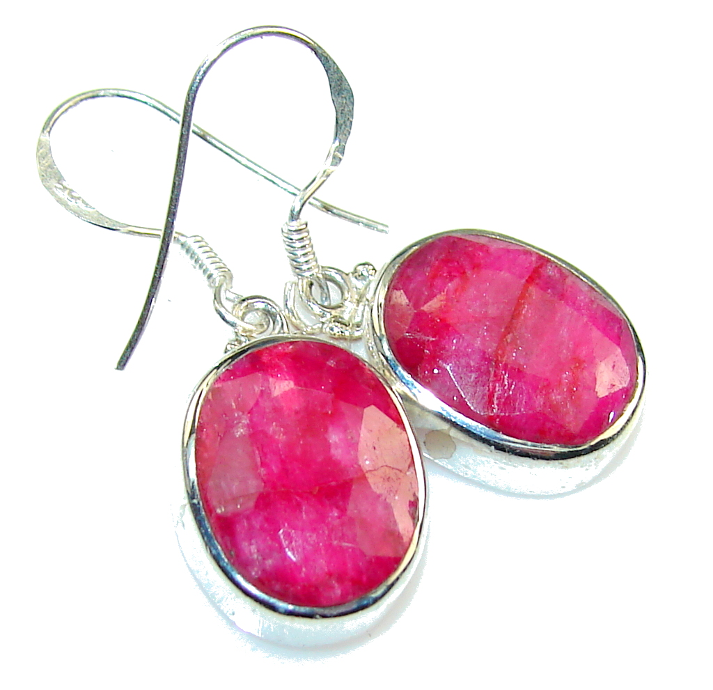 Natural Pink Ruby Sterling Silver Earrings