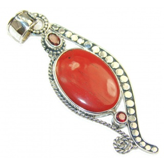 Grown Jewel!! Red Jasper Sterling Silver Pendant