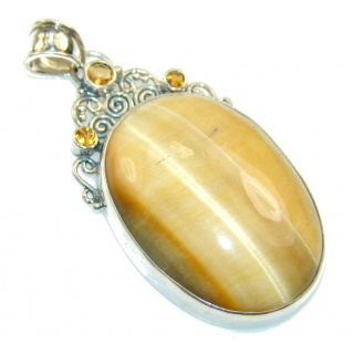 Fabulous Light Brown Tigers Eye Sterling Silver Pendant