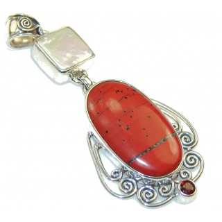 Sunrise Joy!! Red Jasper Sterling Silver Pendant