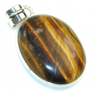 Natural Brown Tigers Eye Sterling Silver Pendant