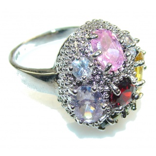Marry Happy!! Multigem Sterling Silver Ring s 5 3/4