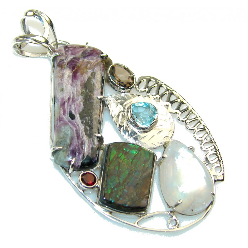 Exotic Style Of Tiffany Jasper Sterling Silver Pendant