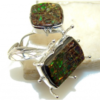 Big! Natural Multicolor Ammolite Sterling Silver ring s. 10