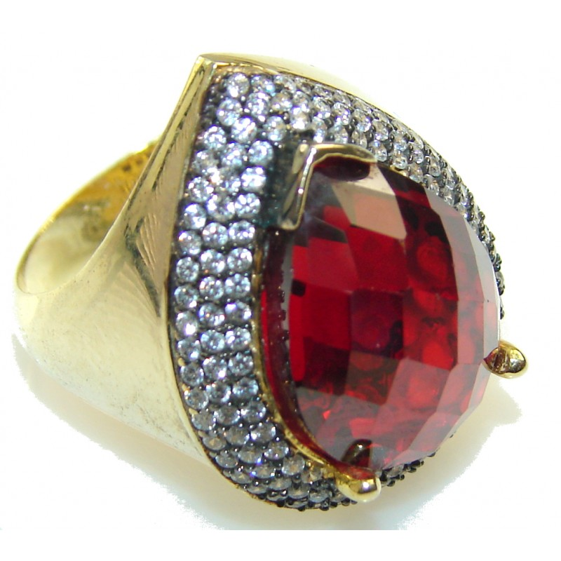 Rich Red Vine Garnet Gold Plated Sterling Silver Ring s. 7 1/4