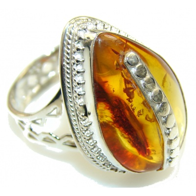 Love Power!! Brown Amber Sterling Silver Ring s. 11