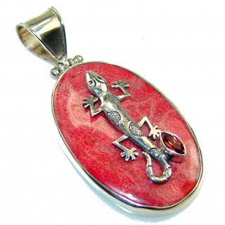 Stylish Red Fossilized Coral Sterling Silver pendant