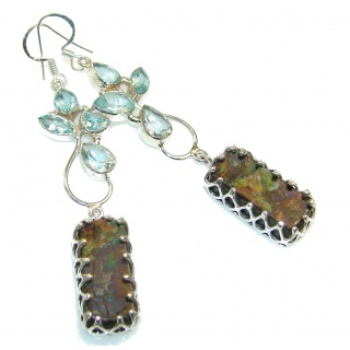 Stylish Design!! Ammolite Sterling Silver earrings / Long